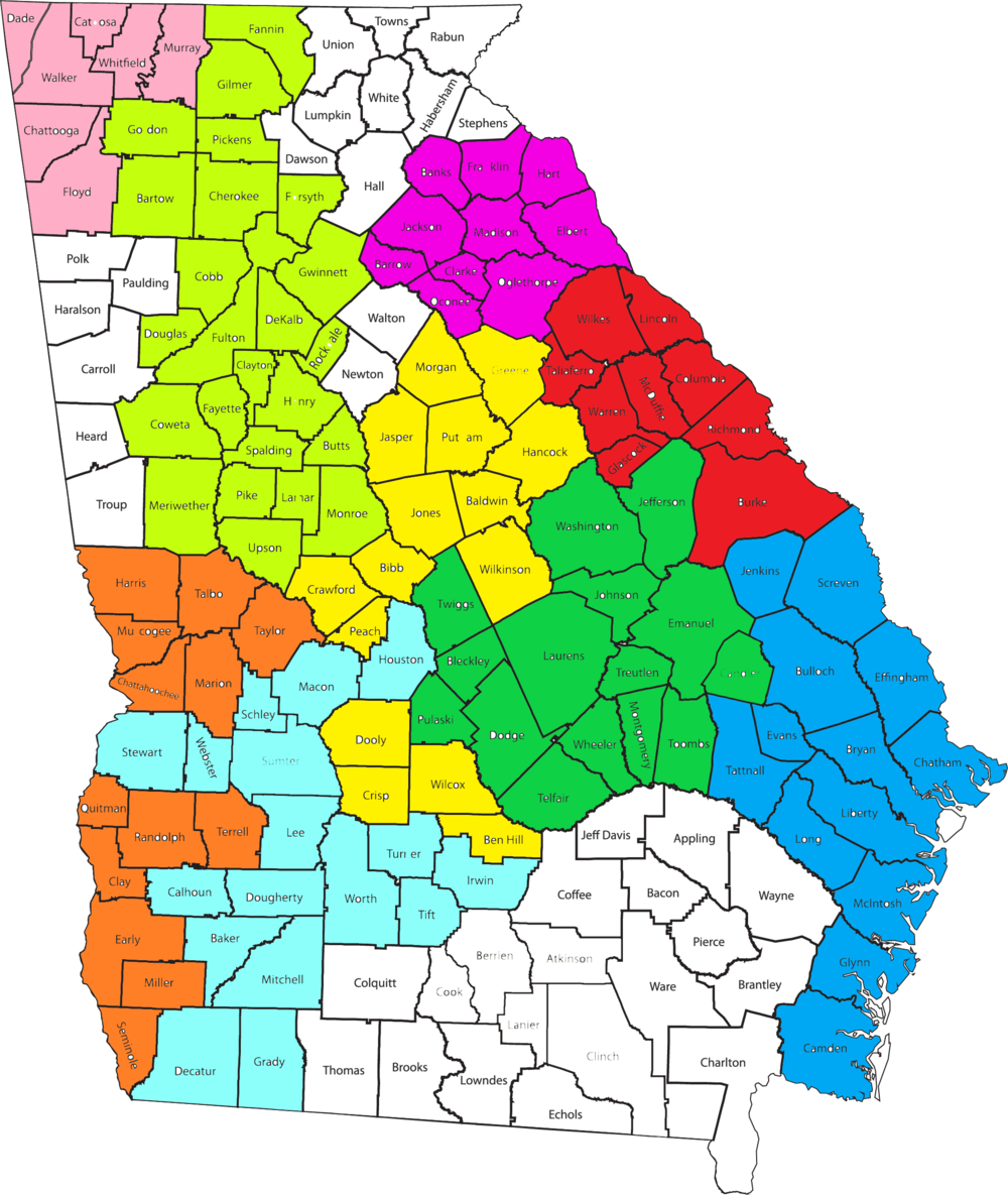 Access & Visitation Program map of Georgia. Counties currently served by the Access and Visitation program are color coded.